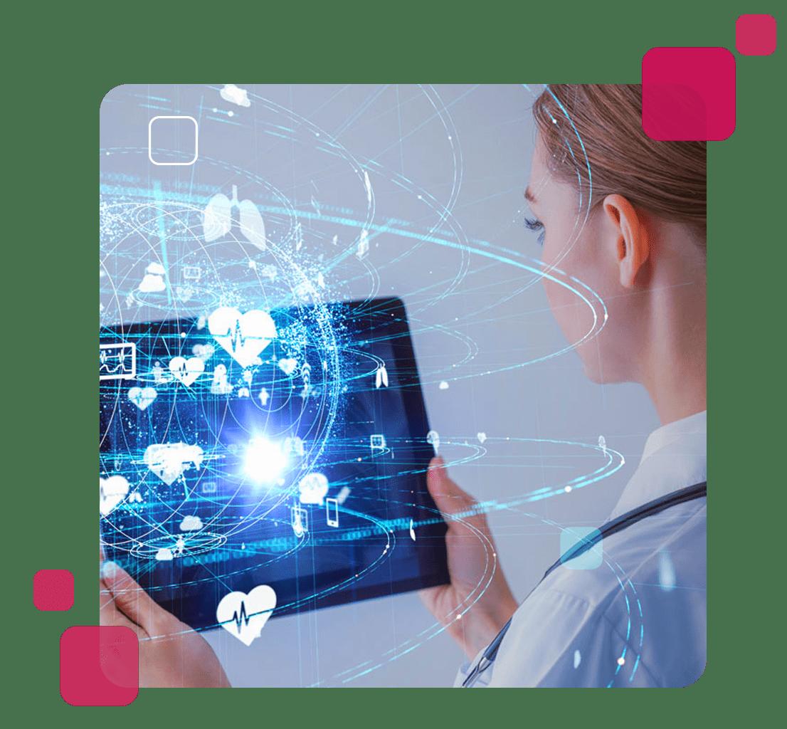 A imagem mostra uma médica olhando diversas inovações tecnológicas como referencia ao Fleury Lab.