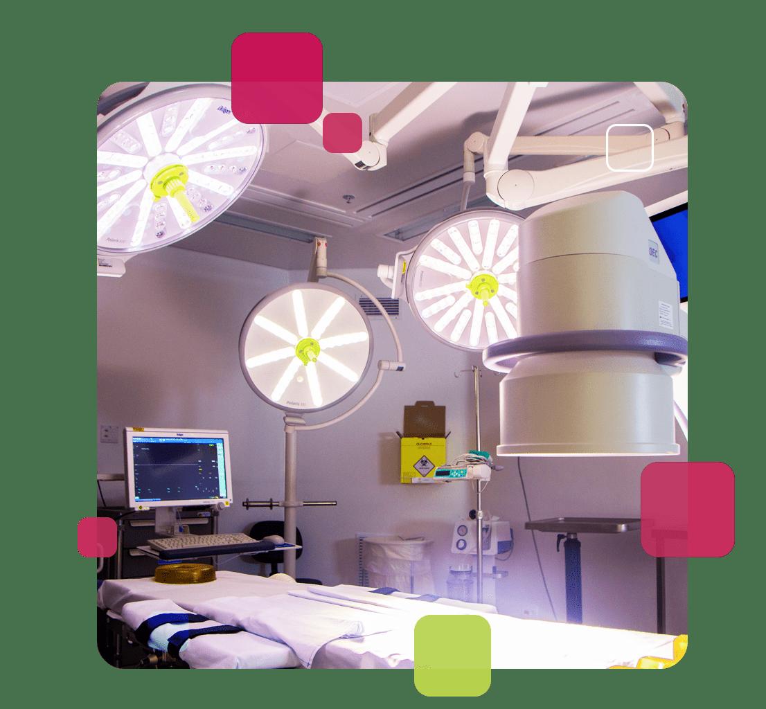 A imagem mostra o interior de uma das salas do Fleury Day Clinic.