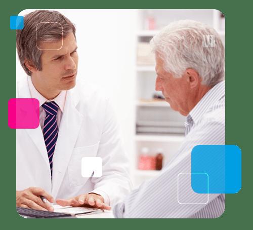 A imagem mostra uma médico falando sobre o exame da próstata.